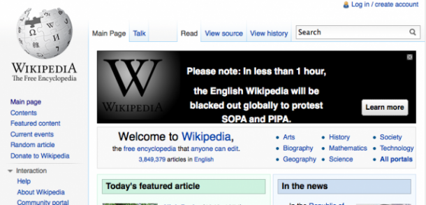 Wikipedia will join other several high-profile website on Jan. 18, 2012 in a global blackout to protest SOPA and PIPA.